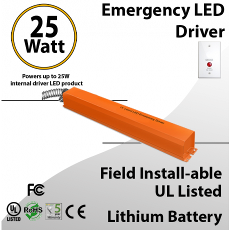 Emergency LED driver field install-able 25W for internal driver LED UL