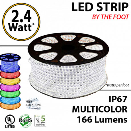 RGB LED rope by feet 166 lumens per foot 2.4 Watts