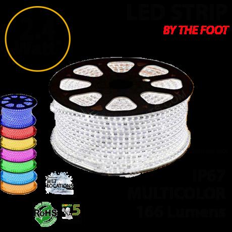 RGB LED rope by feet 166 lumens per foot 2.4 Watts