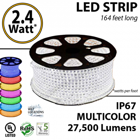 2.4 Watt p/feet LED STRIP Ropelight 164 ft Multicolor RGB 70 Lm p/watt
