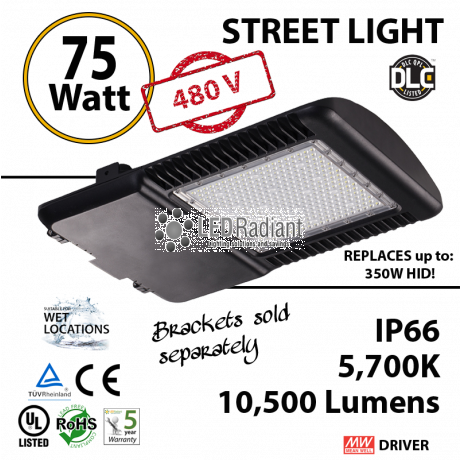 75w LED Street pole lamp Fixture 350 Watt HID Equivalent 480V