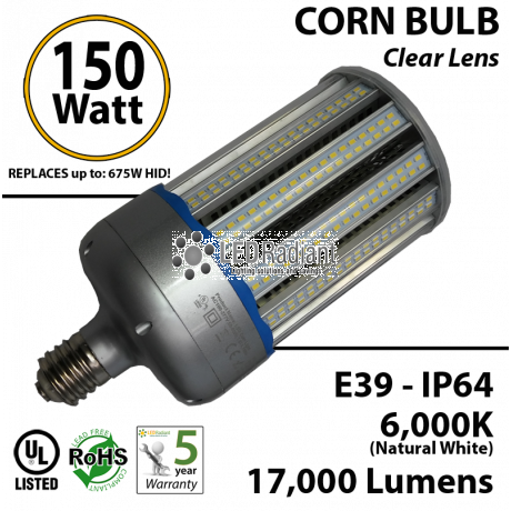 17,000 Lumens 750 Watt Equivalent 150w Corn Light Cool white 6000K