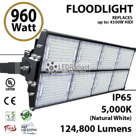 960W LED Floodlight 124800 Lm 5000K IP65 CE SAA UL