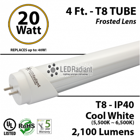 4 Ft 18 Watt Cool White Frosted Single end powered T8 LED Fluorescent Light Tube Replacement feet