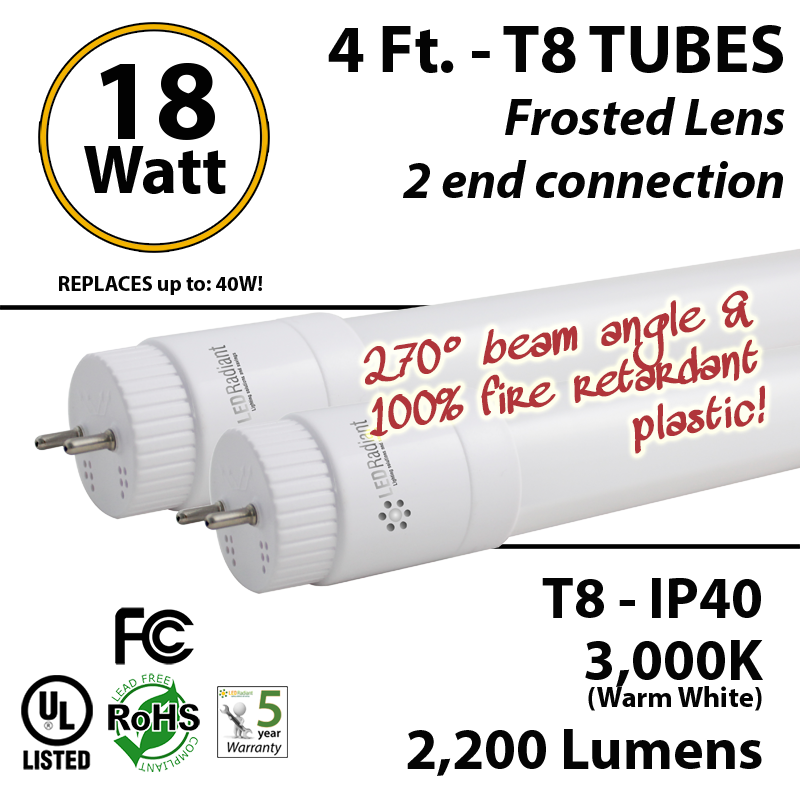 18W 4ft LED T8 Tube 2200Lm 3000K Frosted Lens 2 End Connection IP40 U Bend Wiring Diagram For Led Bulbs on