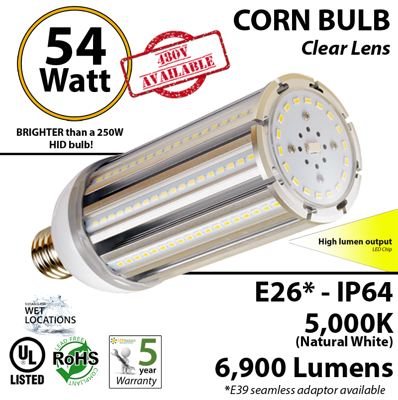 300w Led Replacement Bulbs Equal 54 Watt Bright Corn Light 5000k Rh Ledradiant: Wiring Diagram Hid Repl Bulbs At Sewuka.co