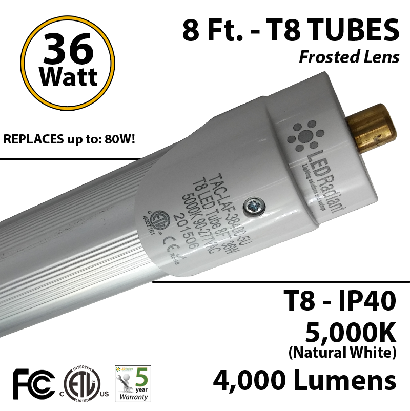 8 ft  36 watt t8 led tube replace fluorescent bulb 4000lm 5000k