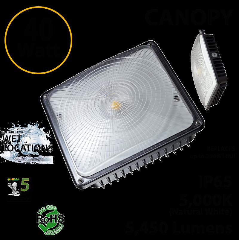 IP65 5000K 40Watt LED GARAGE CANOPY BLACK FINISH UL DLC Certified