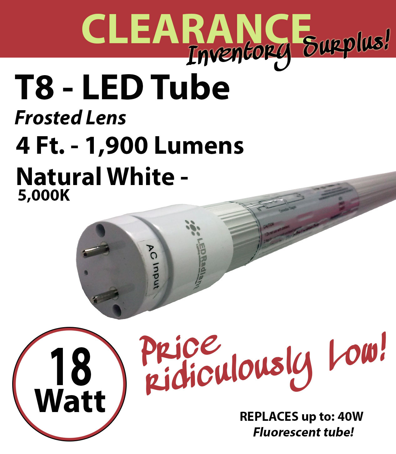 18W, 4Ft, LED Tube, 1800Lm, T8, 6000K, Frosted, UL