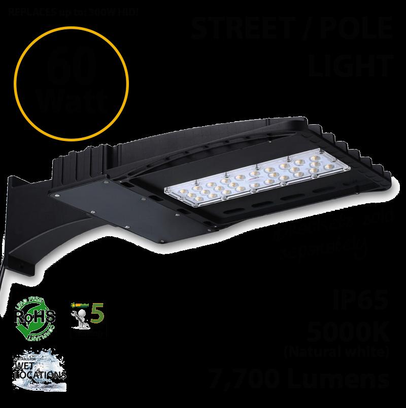 Parking Lot Lighting Watts Per Square Foot: 60W LED Street Light / Pole Mount Fixture 7700Lm 5000K UL