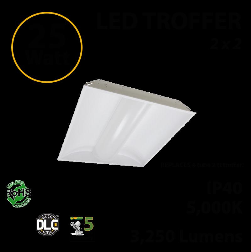 25W LED Troffer 2 x 2 3250Lm 5000K UL DLC