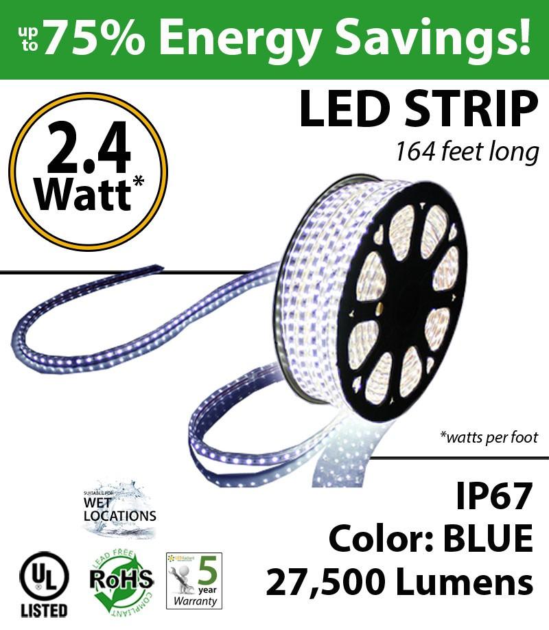Parking Lot Lighting Watts Per Square Foot: 2.4 Watt P/feet LED STRIP Ropelight 164 Ft Color Blue 70
