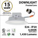 15W LED Downlight Dimmable 1430Lm 4500K E26 IP20