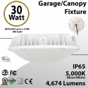 Parking Garage LED Canopy Light   30W 5000K 4674 Lumens
