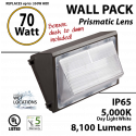 70W LED Wall Pack Fixture: 8100Lm 5000K IP65 UL w/Photocell