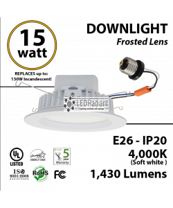 15w LED recessed mounting downlight Fixture 75 Watt HID Equivalent
