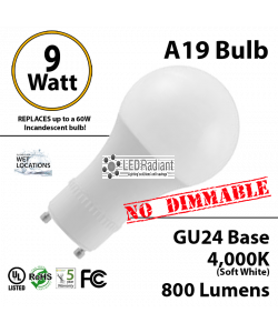 A19 9W 280 Beam Angle 4000K 800 Lm GU24 not dimmable
