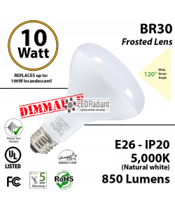 BR30 10W 850Lm Dimmable Frosted Lens 120° Beam Angle 5000K UL & Energy Star