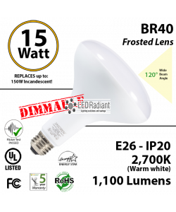 15W BR40 Lamp  1100Lm 2700K E26 Frosted Lens UL.