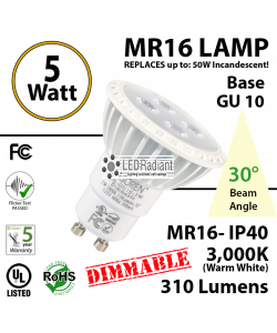 5W LED MR16-GU10 30° Spot 3000K 310Lm  Dimmable