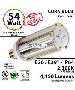 54W LED Corn Bulb Lamp 4850Lm 2300K E26* IP64  UL