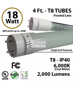 18W, 4ft, LED T8 Tube, 2000Lm, 6000K, Frosted IP40 UL, Single End Power