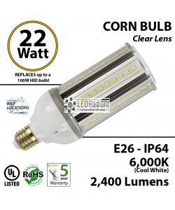 22W LED Corn Bulb Lamp 2400Lm 6000K E26 IP64 UL
