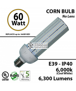 60W LED Bulb Lamp 7700Lm 6000K IP40 E39 UL