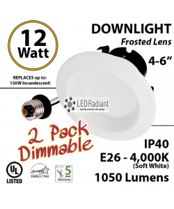 """12W LED Downlight Dimmable 1050Lm 4000K E26 IP40 5-6"""" 2PACK"""