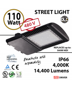 110w LED Street pole lamp Fixture 500 Watt HID Equivalent 480v 4000K