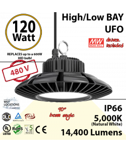 120w LED UFO lamp 550 Watt HPS HID Replacement 5000K 480 Volts