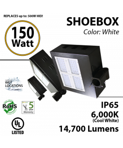 LED Shoebox Parking Area Fixture 150 Watts, replaces up to 650 Watts