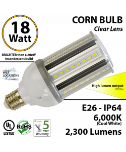 18w LED Corn Bulb Light 200 watt Replacement 2300 Lumens 6000K