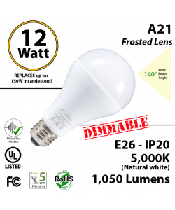 A21 12W  5000K 1050 Lm E26 Frosted Dimmable