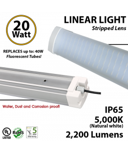20w LED Linear Lighting Vapor Tight Light Fixture: 2200 Lumens, 5000K, Striped Lens, IP65, UL