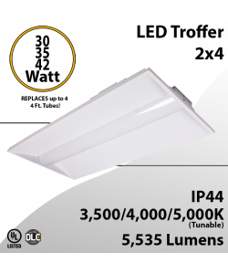 2x4 LED Troffer 30 35 42W 5535Lm Tunable 3500 4000 5000K