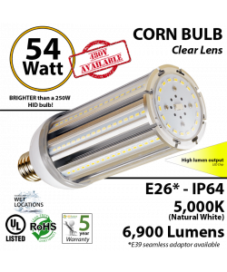 300 Watt Halogen Light Bulb Equivalent 54w LED Corn 5000K