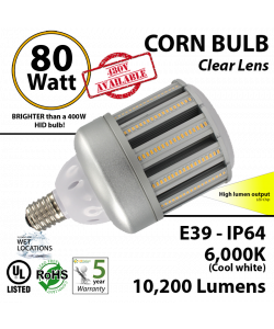 LED Corn Bulb Lamp 80W 10200Lm 6000K E39 IP64  UL