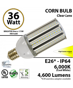 175 Watt HID Replacement Light 36w LED Corn Bulb 4600 Lumens