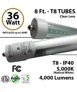 LED 8 Foot T8 Tube light 36 Watt 4000Lm 5000K IP40 Clear Lens ETL