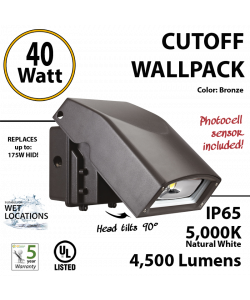 40W Full Cut-Off LED Wall Pack Fixture: 4500Lm 5000K IP65 UL w/Photocell