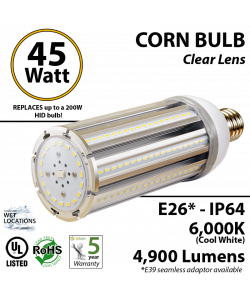 45w LED Corn Bulb 200 Watt HID Equivalent 4900Lm 6000K