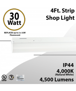 4Ft LED shop light 30W 4000K 4500 Lumens 0-10V Dimmable
