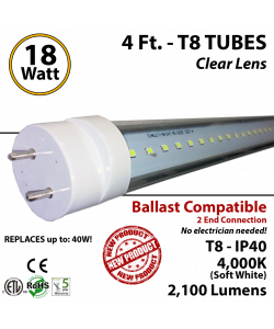 18w 4ft LED T8 Tube Light 2100Lm 4000K Clear Ballast Compatible