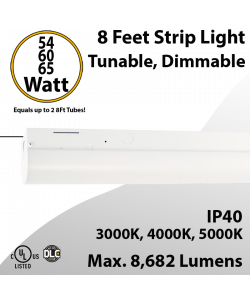 8 Foot LED Shop Light 54 60 65W 3000K 4000K 5000K 8682Lm 0-10V Dim