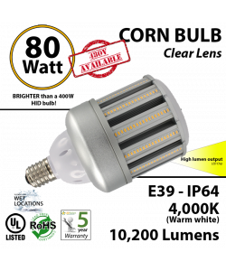 350 Watt HID Replacement Light 80w LED Corn Bulb 10200 Lumens iquals