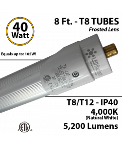 8Ft LED Lights T8 or T12 40W 5200Lm 4000K IP40 Frosted Lens