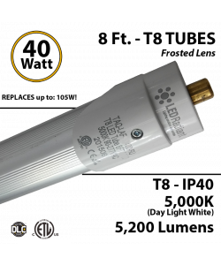 8Ft LED light 40 Watt 5200Lm 5000K IP40 Frosted Lens UL DLC