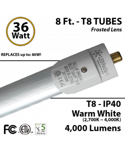8 Foot fluorescent replacement LED T8 Tube light 36 Watt 4000Lm 4000K IP40 Frosted Lens