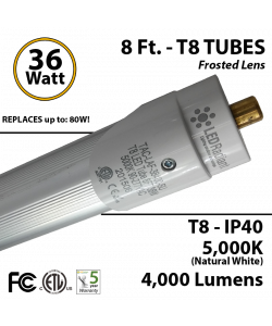 8ft LED Tube light T8 36W 4000Lm 5000K IP40 Frosted Lens